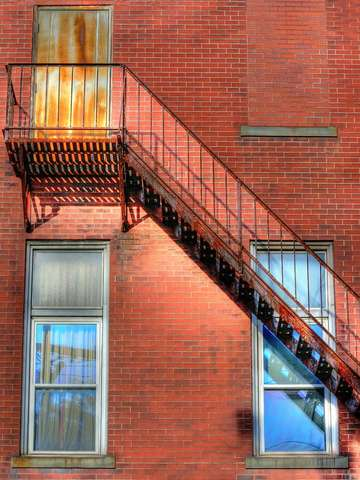 Fire escape four windows