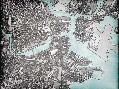 Abstract map of boston peninsula
