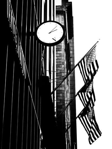 City noir three flags and a clock