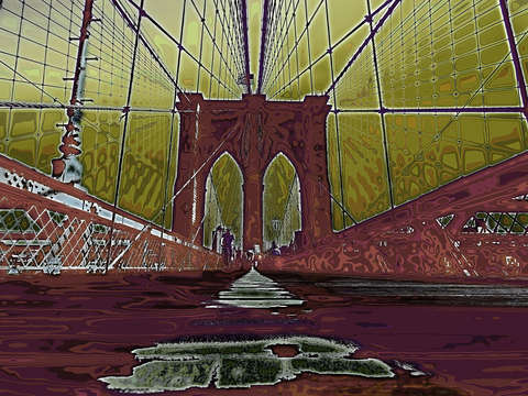 psychedelic Brooklyn Bridge NYC