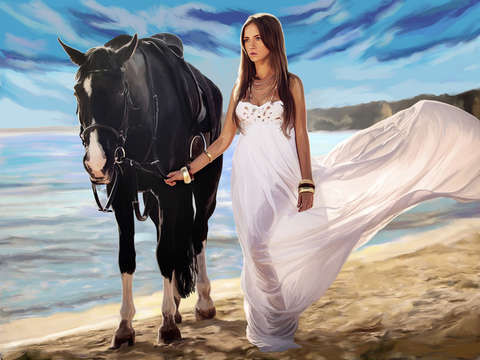 Girl and horse on beach ta