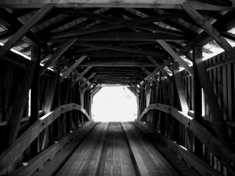 Uncovered bridge stowe vt