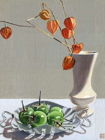 Still life with chinese lanterns and eggplants