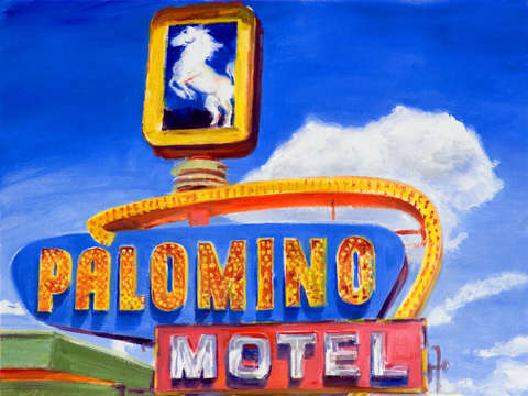 Route 66 retro neon sign palomino motel