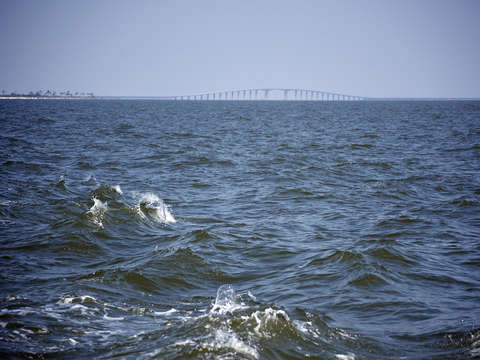Ocean waves by the dauphin island bridge