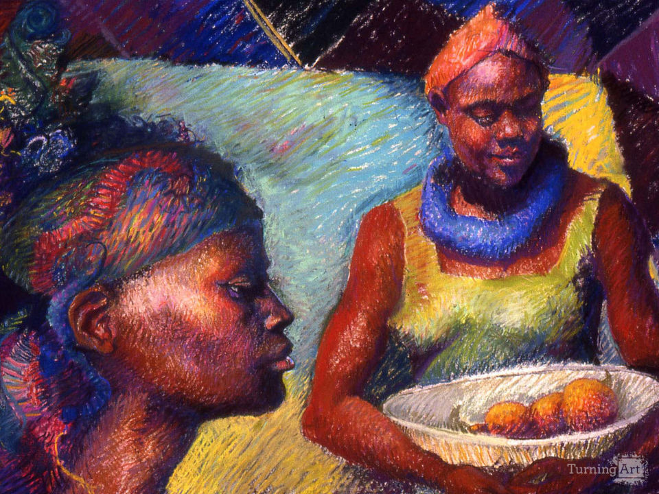 Caribbean women with oranges