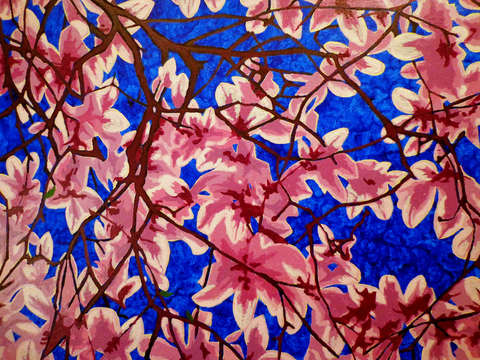 Magnolias on blue