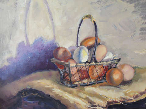Farm eggs in a basket