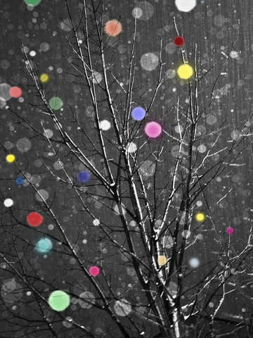 Snow tree hand colored