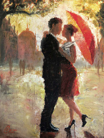 Red umbrella romance