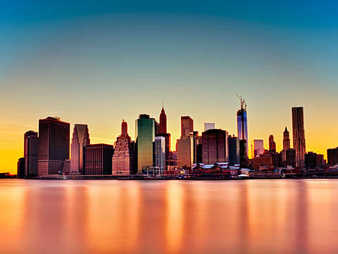 Nyc skyline after the sunset
