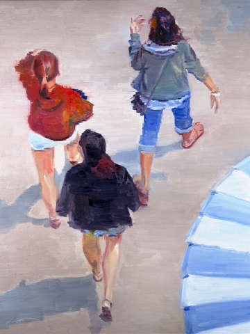 Aerial view of girls walking on santa cruz boardwa