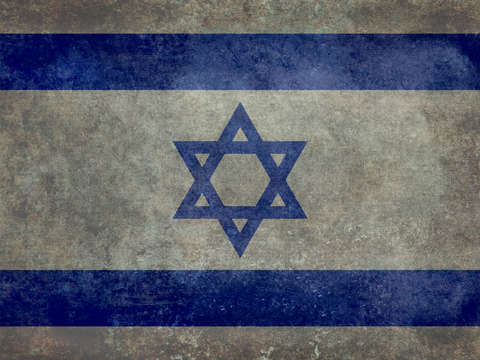 National flag of the state of israel with a vintag