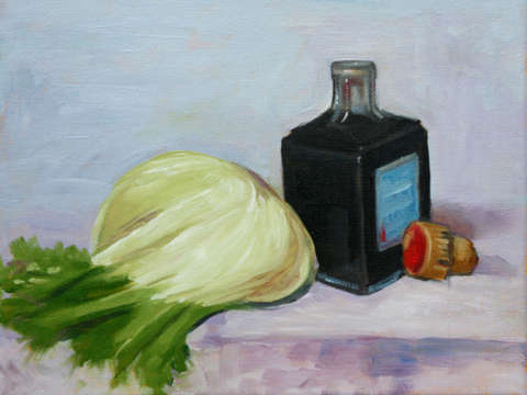 Fennel bulb with vinegar bottle