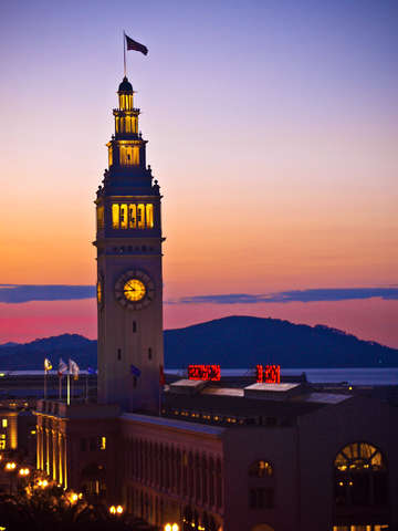 Ferry building at sunset san francisco