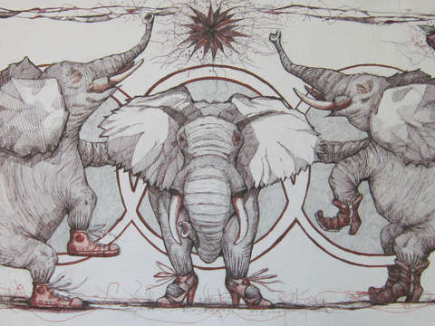 Elephants wearing shoes 2