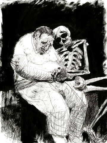 Mister boney comforts an unfortunate soul