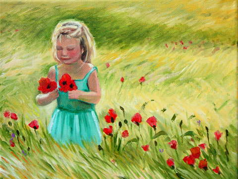 Towhead picking poppies