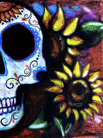 Red sunflower skull