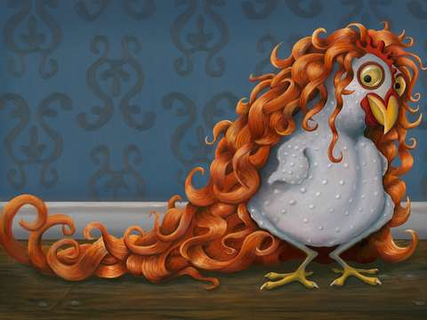 The curly haired hen