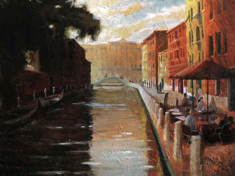 Venice italy cafe on the canal