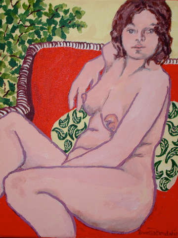 woman on red couch