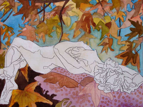Woman with leaves 3 2