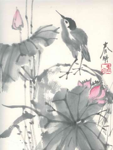 Bird and lotus