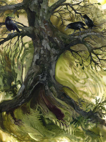 The gathering tree with crows