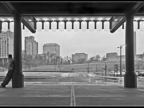 Union station kansas city canopy view with man bw