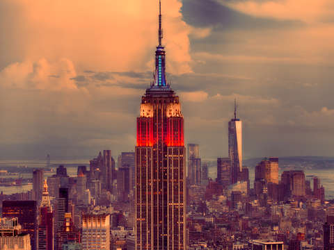 Empire state in red white blue