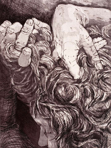Self portrait hands and hair i