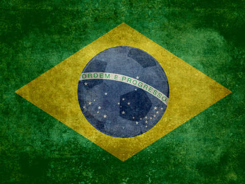Vintage brazilian national flag featuring a footba