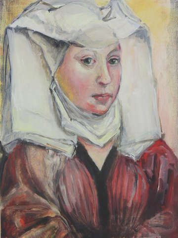 Woman with a winged bonnet