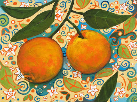 Oranges on orange blossom painted pattern