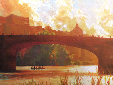 Florence italy the arno river at sunset