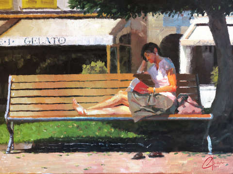 Reading by the gelato shop