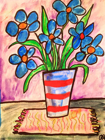 Blue flowers in a stripy vase