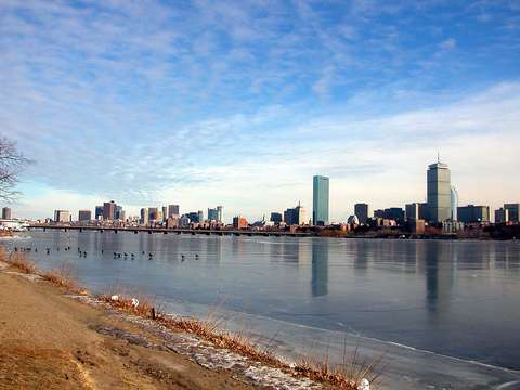 Cold boston skyline