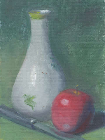 Apple and antique vase