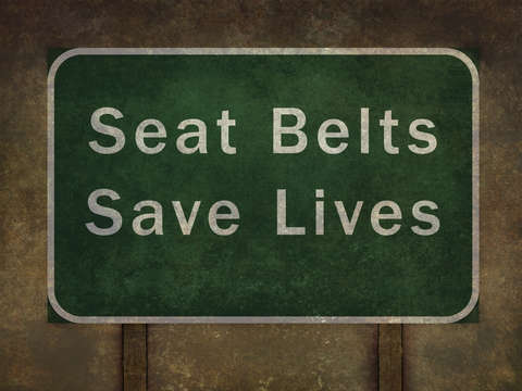 Seat belts save lives roadside sign