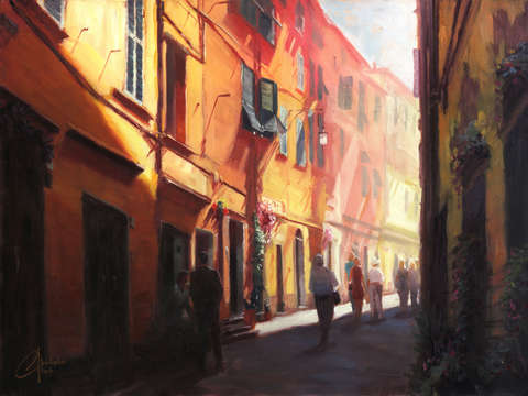 Sunlit alleyway in italy