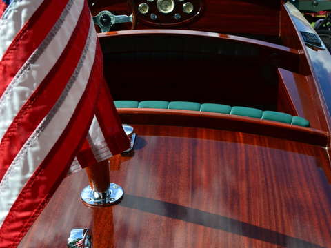Chris craft interior with flag