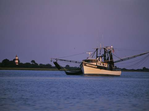 Shrimp trawler and sapelo lighthouse