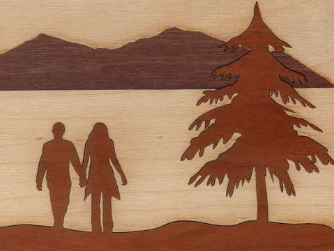 Laser cut wood inlay