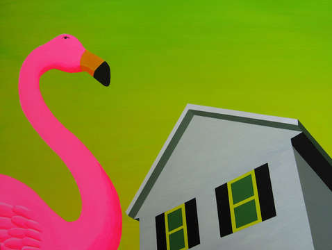 Flamingo with green sky