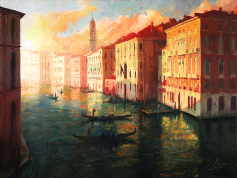 Venice italy nil the grand canal at sunset
