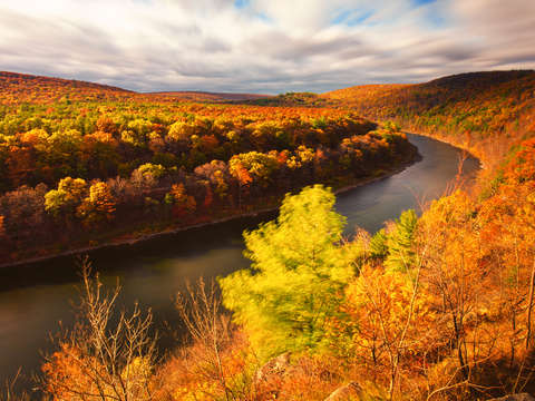 Peak foliage on the delaware river