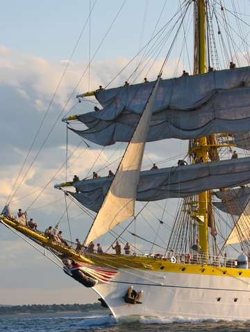 Tall ship mircea sails aloft in boston