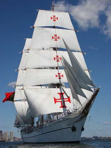 Tallship sagres full sail in boston harbor